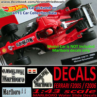 FERRARI MARLBORO water slide decals 248 F1 2006 / F2005  Schumacher 1:43 Scale