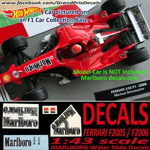 FERRARI MARLBORO water slide decals 248 F1 2006 / F2005  Schumacher 1:43 Scale