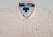Tommy Hilfiger Vintage 2012 Mens Large Spell Out Collar Pink Polo Rugby Shirt Y1