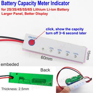 2S~6S Lithium Li-ion 18650 Battery Pack Capacity Level LED Indicator Panel Meter