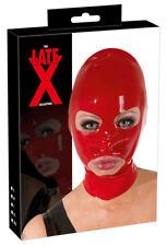 Maschera Cappuccio Latex Rosso Apertura Occhi Bocca Fetish Accessori BDSM