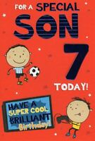 Son Age 7 7th Football Gaming & Star Design Happy Birthday Card Lovely Verse