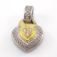Judith Ripka JR TWO Sterling Silver 18K Gold Diamond Heart Enhancer Pendant SEI