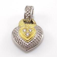 Judith Ripka JR TWO Sterling Silver 18K Gold Diamond Heart Enhancer Pendant