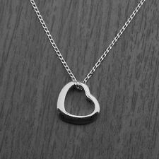 """Genuine 925 Sterling Silver Floating Heart Pendant Necklace on 18"""" Curb Chain"""