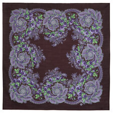 Natural Wool Authentic Pavlovo Posad Shawl Russian scarf 1832-17 Lilac Evening