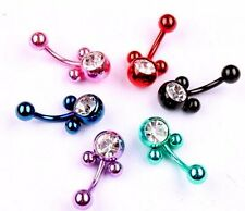 1 Anodized Mickey Mouse Cute Animal Womens Belly Button Navel Ring Bar Coloured