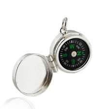 Real Working Compass Locket Pendant - 925 Sterling Silver Direction North NEW