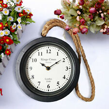 BLACK METAL ROPE HANGING VINTAGE CLOCK LONDON STATION ROUND HOME NUMERAL GARDEN