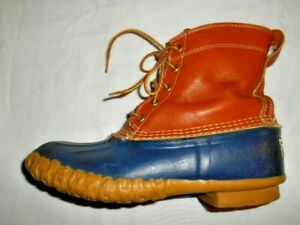 LL BEAN Duck Boots Womens 8M Made in Maine Tan Leather Blue Rubber Boots VGUC