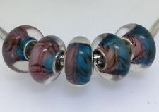 5PCS silver hallmarked Single Core Murano Glass Beads fit Charms Bracelet AOC276