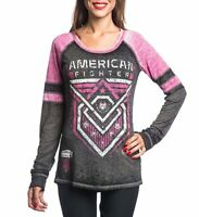 AMERICAN FIGHTER Womens LS T-Shirt KENDRICK Athletic Biker Gym MMA $52