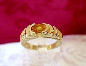 14K YELLOW GOLD OVAL CUT YELLOW CITRINE GEM STONE DOME STYLE RING SIZE 5.5