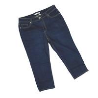 Chico's Denim Platinum Cropped Grayson sz 2 or 12 Dark Wash Capri Jeans