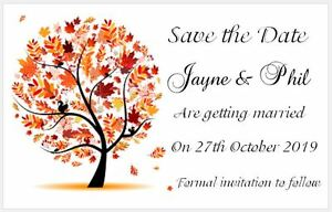 40 x Small Save the Date Wedding Cards - Autumn Tree - Cream Ivory or White
