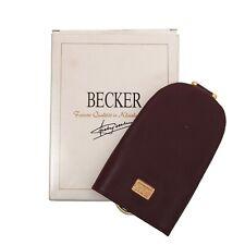 BECKER HANDMADE Germany Schlüsselanhänger Keychain Leder Leather Burgunderrot We