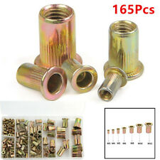 165pcs Mixed Zinc Plated Carbon Steel Rivet Nut Threaded Insert M4 5 6 8 10 12