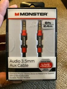 Monster 8-FT 2.4 M AUDIO 3.5 MM AUX CABLE Gold Contacts HD Audio - NEW™ b1