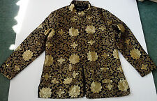 Asian style jacket blazers gold pattern on black  front pockets knot buttons