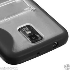 Samsung Galaxy S2 T989 T-Mobile Hybrid Gummy Case w/Stand Cover Clear Black