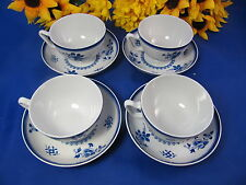 Copeland Spode SPODES GLOUCESTER Canton Footed Cups & Saucers ENGLAND Set Of 4