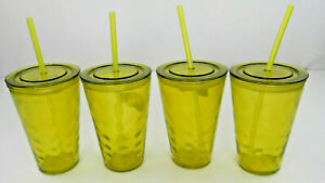 Glass Cups With Straws & Lids Embossed Glass Pink Yellow Blue or Teal Lots (PG7)