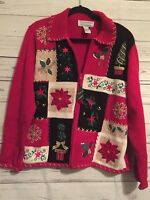 Ugly Zip Front Red Christmas Sweater Cardigan with Different Designs Sz L