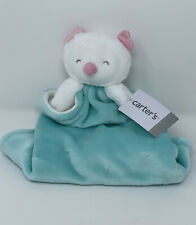 Carters Aqua Blue White Owl Security Blanket Lovey Soft Plush 2016 Baby Toy New