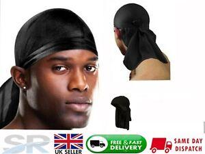 New Men's Black Du-Rag Bandanna Sports Du-Rag Scarf Head Rap Tie Down Band Cap