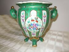 Vintage Yong [?] Tang Hall Stamped Green Cloisonne Chinese Footed Vase