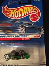 HOT WHEELS 1998 FIRST EDITION GO KART~GREEN~21 OF 40 CARS~NEW ON CARD