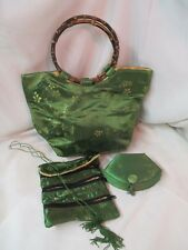 Chinese style green satin brocade Purse Bamboo Handles Jewelry Bag & Trinket Box