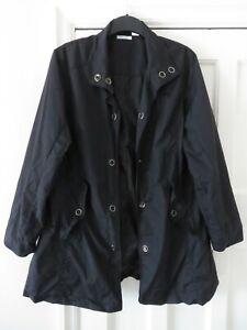 NEW Womens Black Lightweight Anorak Rain Coat UK Size 18 Snap Fastenings 84 cm