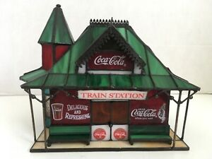 Franklin Mint Coca Cola Stained Glass Train Station w/ light never displayed NIB