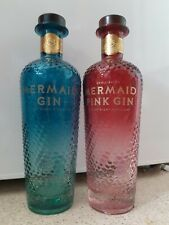 Isle of wight Mermaid Gin bottles 70cl ,1 x pink 1 x blue Murano glass