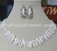 Rare Natural 7x18mm Abnormal Shape White Pearl Necklaces + Earrings Set  JN462