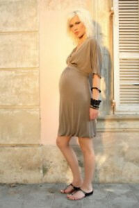Attesa Maternity Dress - Grecian style maternity dress - brown / black