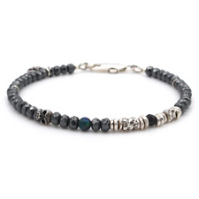 🖤💀 Tateossian London Style Stunning Hematite & Black Opal Mens Bracelet