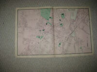 HUGE ANTIQUE 1870 MILFORD WORCESTER COUNTY MASSACHUSETTS HANDCOLORED MAP SUPERB