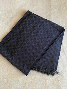 100% Authentic Mens Gucci Logo Wool Scarf