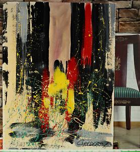 Christian Claerebout * 1947 Gemälde abstrakt 99x74cm Mischtechnik Acryl Lack