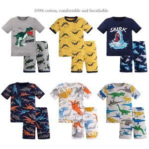 Toddler Little Big Boys Dinosaur Pajamas Snug-Fit Short 100% Cotton Kids Pjs Set