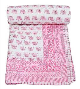 Cotton Nursery Baby Kantha Quilt Bedspread Elephant Print Coverlet Mother's Day