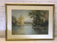 Antique Joseph G Brunn Missouri Kansas Artist Signed Watercolor Landscape