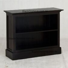 Timber Bookcase Low, Solid Timber, Mahogany, Dark Chocolate Brown