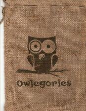 "Owl Burlap Bag Owlegories 11.5"" x 8"" Crafts Home Decor Rustic"