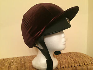 Riding Hat Silk Cover Equestrian Competition Velvet Velour Event Eventing Brown