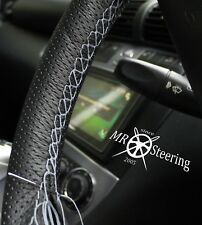 FOR MAZDA MX5 MK2 98-05 PERFORATED LEATHER STEERING WHEEL COVER GREY DOUBLE STCH