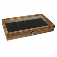 Mooca Wood Glass Top Jewelry Display Case Wooden Jewelry Tray For Collectibles