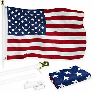 G128 6ft White Aluminum Flagpole & American USA Brass Grommets Printed 3x5ft